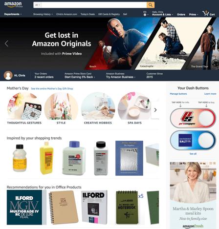 Personalisatie Amazon landingspagina