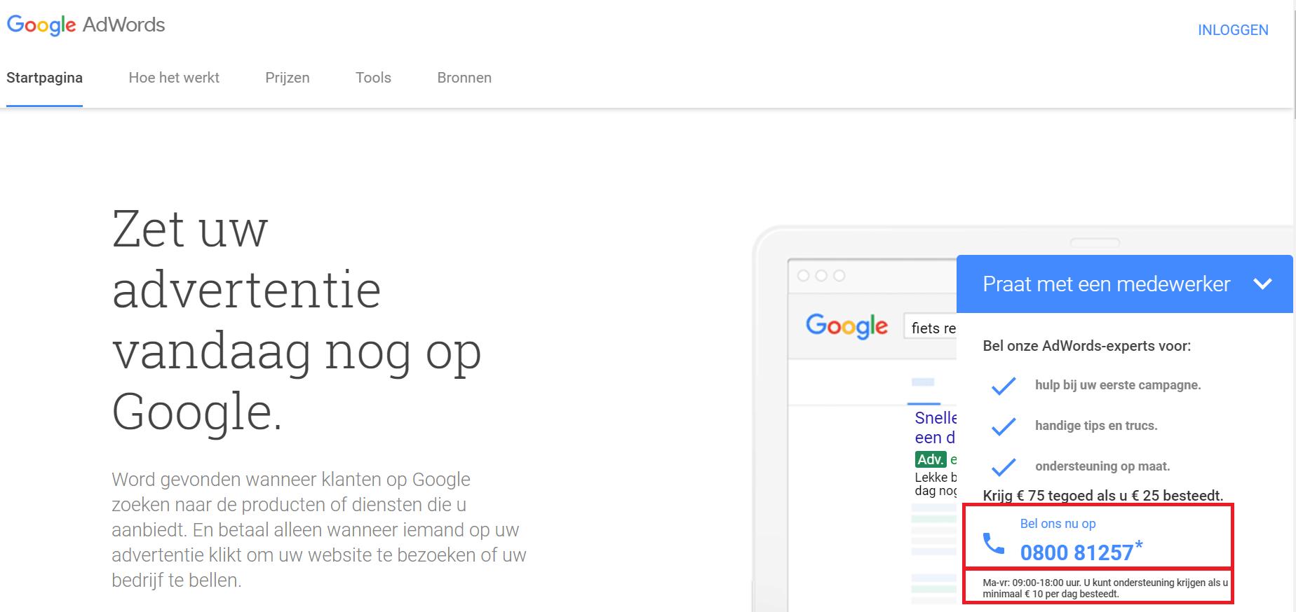 Google Adwords team contacteren
