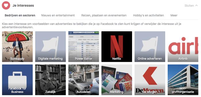 Advertentievoorkeuren Facebook