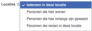 Locatie targeting Facebook