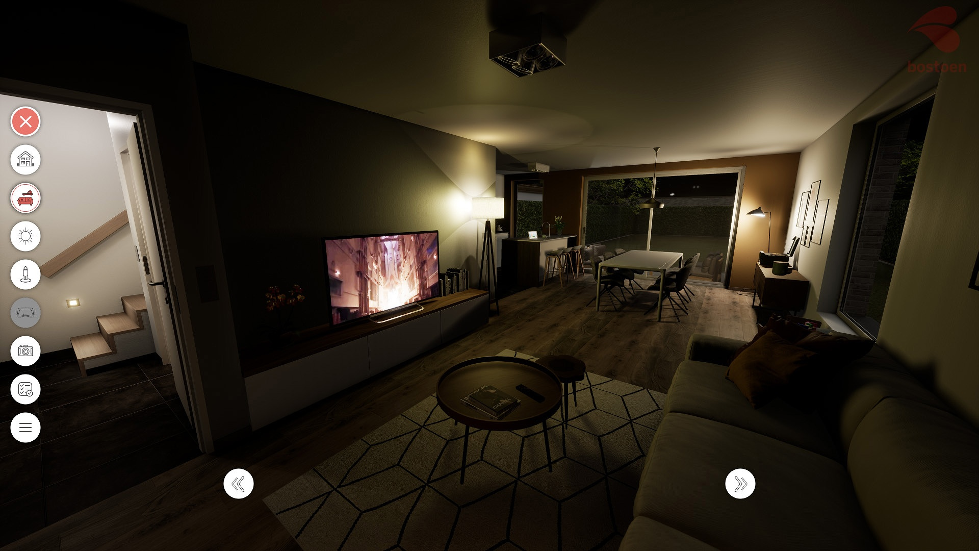 Bostoen Virtual Reality woning woonkamer nacht