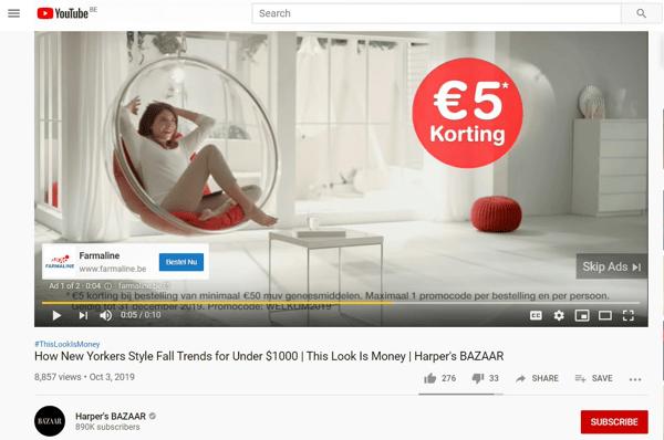 Youtube in stream reclame