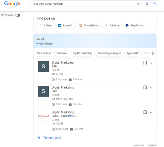 google for jobs widget in zoekresultaten