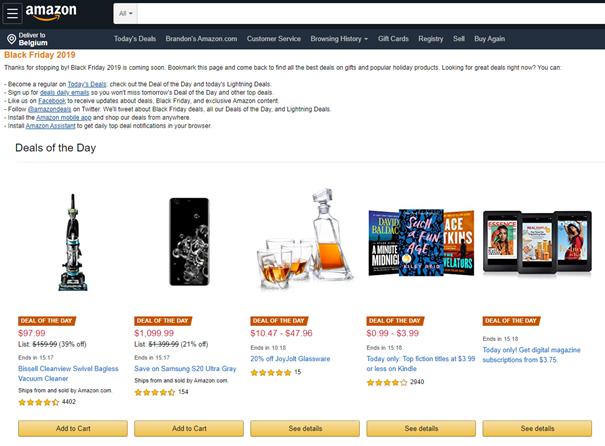 Amazon website verwijzend naar verschillende deals