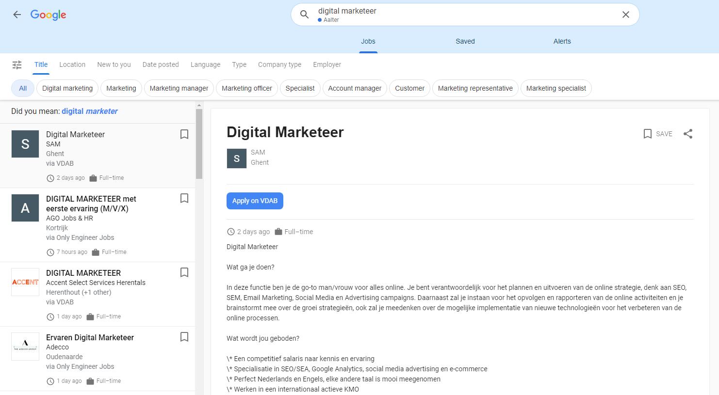 google for jobs uitgebreide weergaven met talloze filters